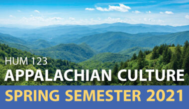 Mountain range with text: HUM 123 Appalachian Culture Spring Semester 2021