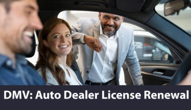 A young couple in a new car talking with a car dealer.