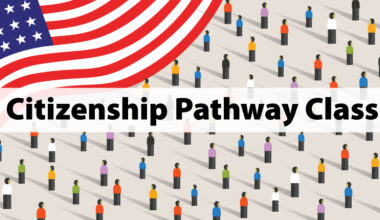 Citizenship Pathway Class (text) graphic with US flag and tiny people evenly spaced