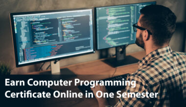 Male sitting in front of 2 computer screens. Text reads 'Earn Computer Programming Certificate Online in One Semester'