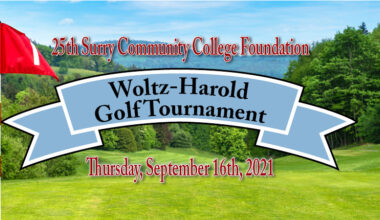 25th Surry Community College Foundation Wolz-Harold Golf Tournament Thursday, September 16th, 2021, background is golf greens, flag and trees