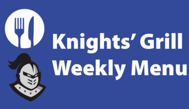 Knights Grill Weekly Menu with knight head, fork, knife