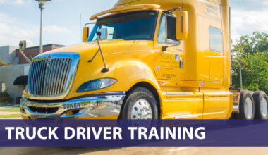 Truck Driver Training (photo of 18 wheeler truck cab)