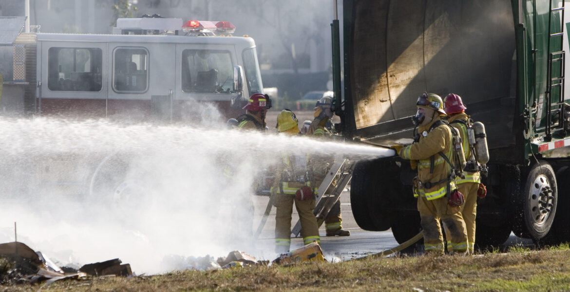 firefighters responding to traffic incident