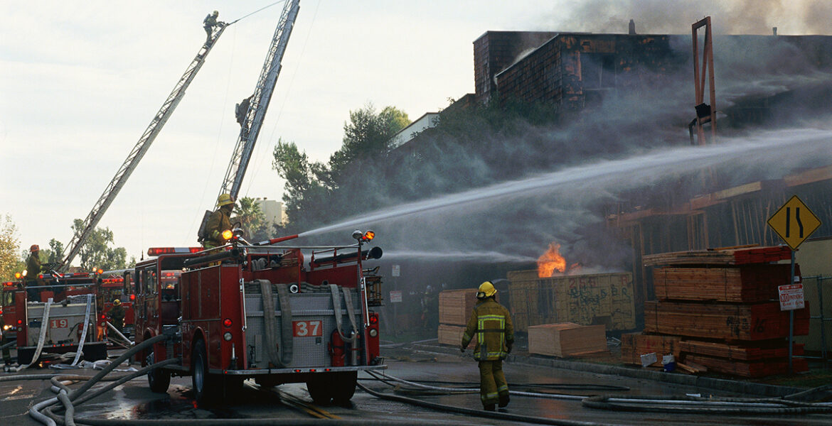 Firefighters at three-alarm fire