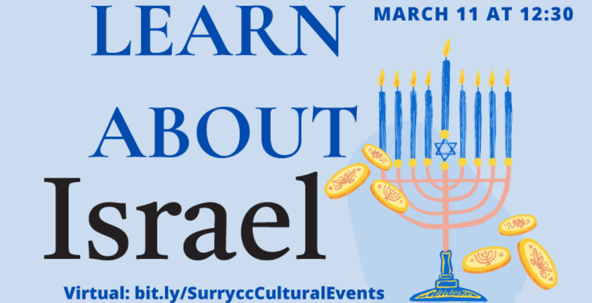 Learn about Israel March 11 at 12:30 virtual: bit.ly/SurryccCulturalEvents. contact: Sarah Wright, wrights@surry.edu or (336) 386-3439. Graphic includes art of menorah, coins, and global scholars logo with lines on globe