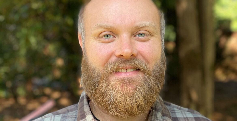 man with beard, outside