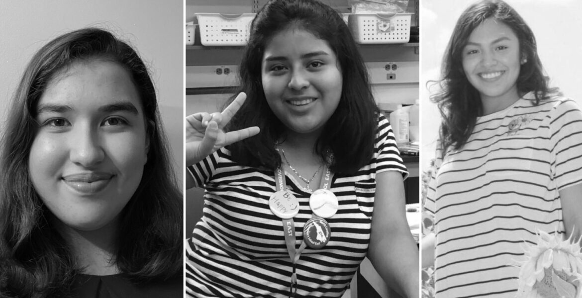 three separate photos of female students