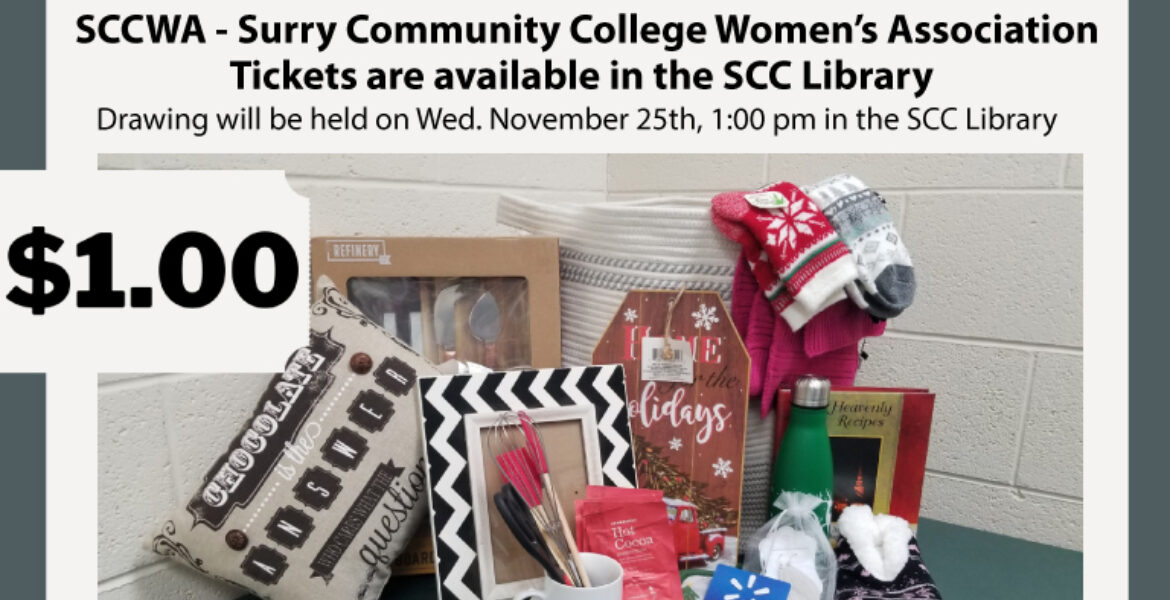 SCCWA Surry Community College Women's Association Tickets are available in the SCC library... photo of prizes