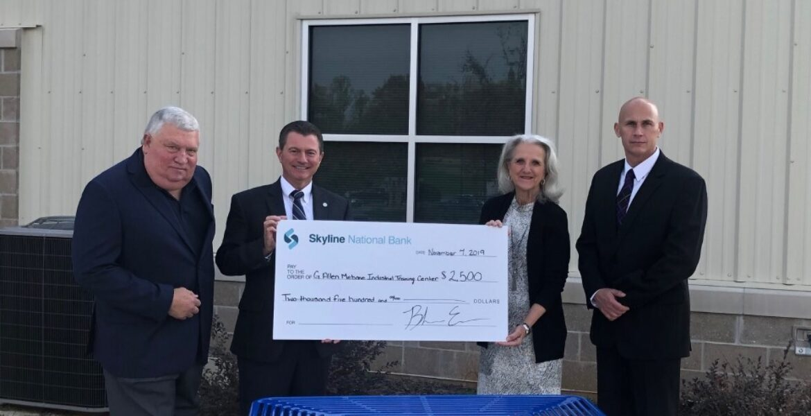 Skyline National Bank presents check to the G. Allen Mebane IV Industrial Training Center at Surry Community College's Yadkin Center.