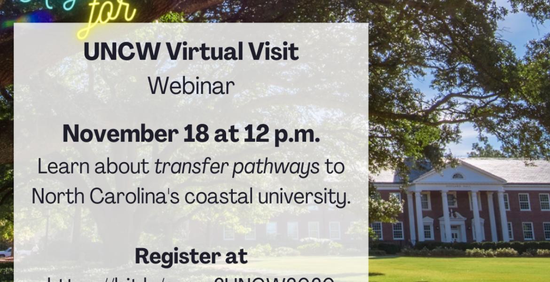 UNCW Virtual Visit Webinar November 18 at noon...