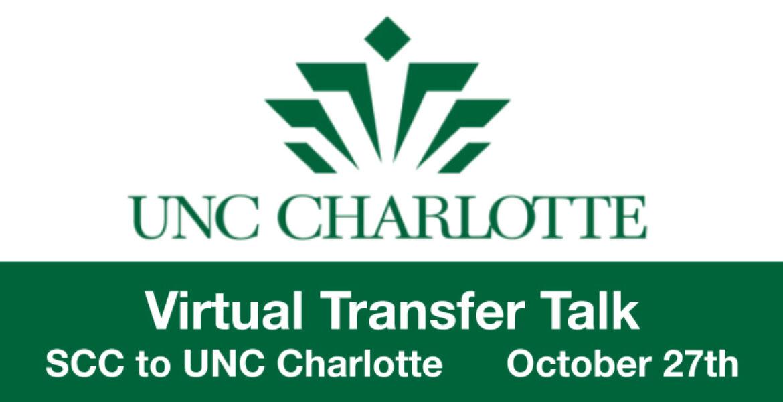 UNC Charlotte (logo) Virtual Transfer Talk SCC to UNC Charlotte October 27th