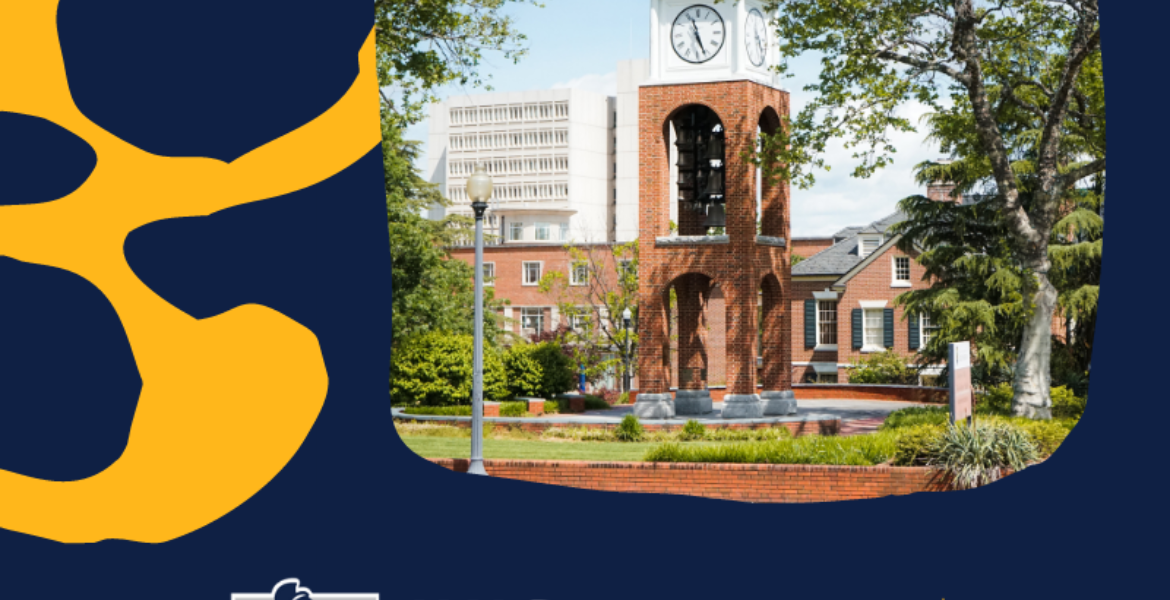 UNCG logo, photo of clock tower, text reads Find your way here