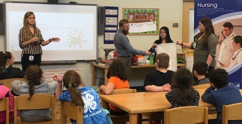 Nursing students teach flu prevention to elementary school students