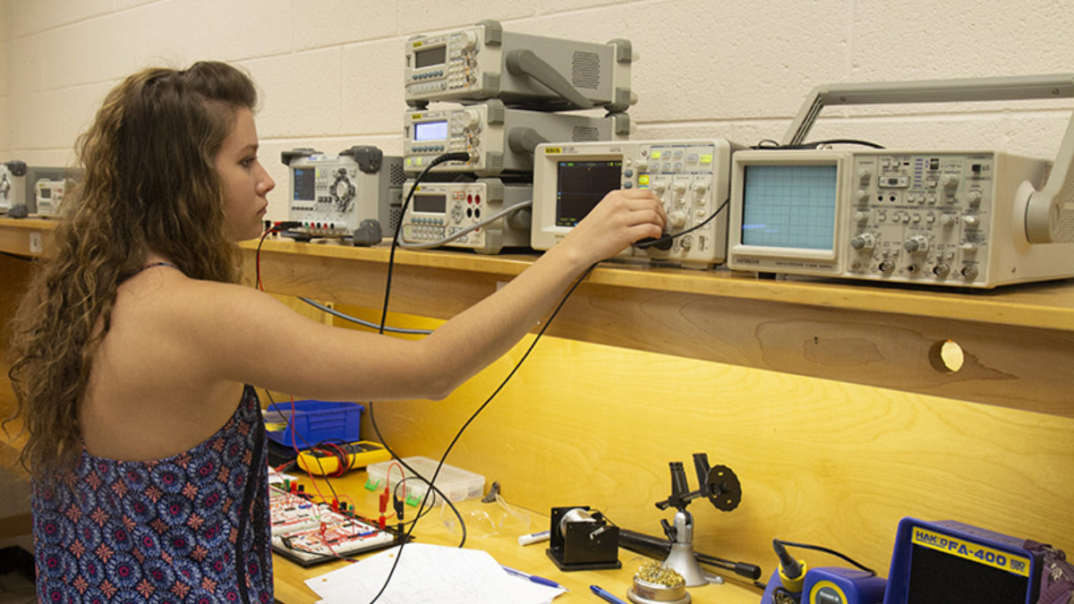 Electronics female student