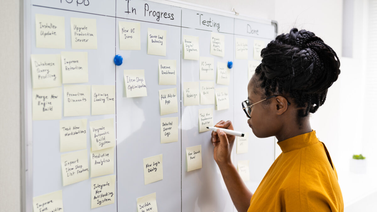 Woman at whiteboard holding a marker, with the whiteboard having columns: To Do, In Progress, Testing, and Done and various sticky notes placed under each stating a task.